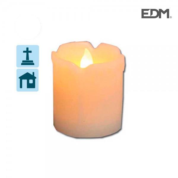 Vela luminosa con led ø5,1x7,5cm luz blanco cálido edm