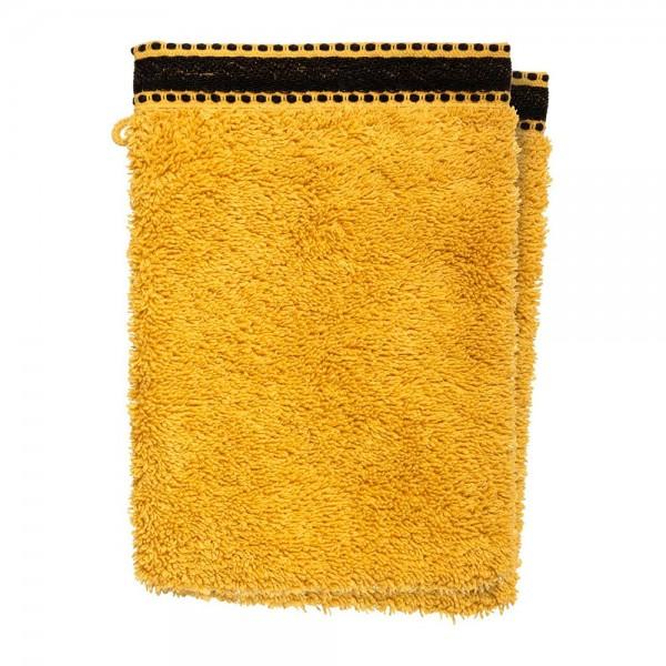 Pack 2ud guante-toalla baño premium color mostaza 15x21cm