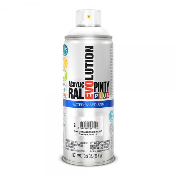 Pintura en spray pintyplus evolution water-based 520cc ral 9016 blanco tráfico